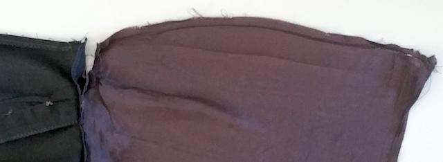 découdre les côtés de la doublure de la jupe