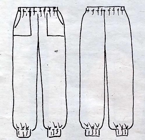 Patron de pantalon taille élastique avec poches plaquées